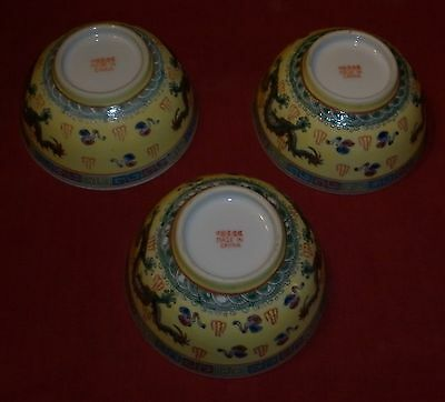 Group Vintage Chinese Porcelain Dragon Bowls Excellent Condition