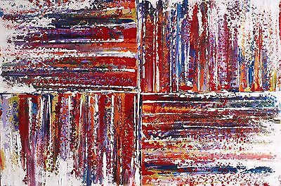 ORIGINAL ABSTRACT CONTEMPORARY MODERN COLOURFUL KNIFE PAINTING 90x60cmbox canvas
