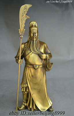 Ancient Chinese Brass Stand Warrior General Guan Gong Guan Yu Hold Knife Statue
