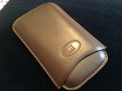 DUNHILL brown leather 3 cigar case holder UNUSED but in used condition