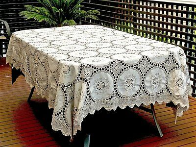 Wonderful Hand Crochet & Embroidered  Ecru Cotton Tablecloth 250 X 190 Cm.