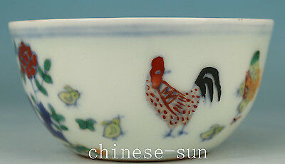 Tastefully Chinese Old Porcelain Handmade Painting chicken Collect Tea Cup Bowl