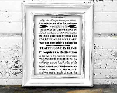 Islands In The Stream By Dolly Parton And Kenny Rogers A4 Lyrics Poster
