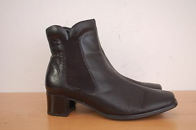ECCO  Womens Black Leather Ankle Boots Size: UK-3 EUR-35