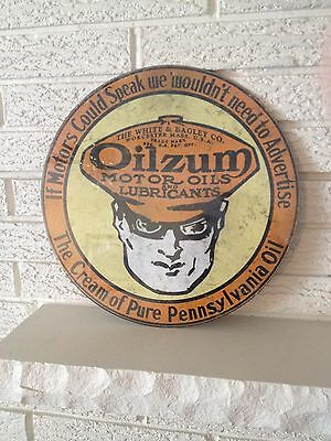 """Oilzum New  Sign """"The Cream of Pure Pennsylvania Oil """" White & Bagley Worcester"""