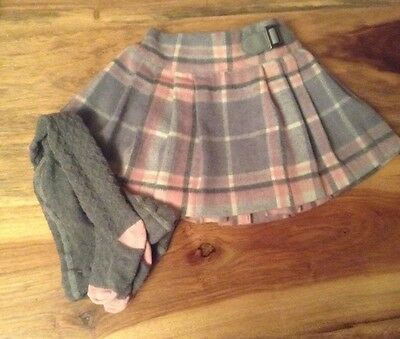 Gorgeous Next Pink And Grey Tartan Skirt & Tights Age 9-12 Months