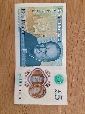 AJ55 Bank of England Polymer £5 Note - New