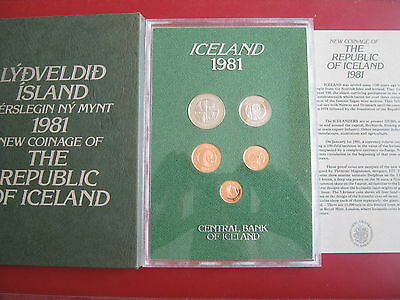 Iceland 1981 5 coin set Proof 5 Aurur - 5 Kronur with envelope and info card