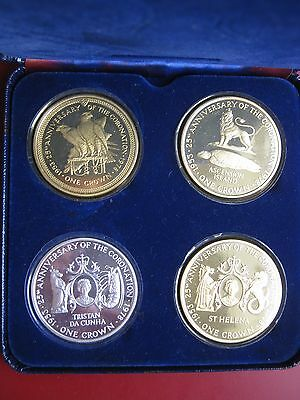 1978 S Helena Ascension Tristan Da Cunha Man 4 Silver Crown coin set Coronation
