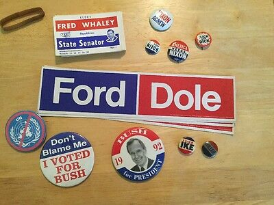 Nixon Click With Dick Vintage Political Buttons Stickers Bush Ford Willkie Ike