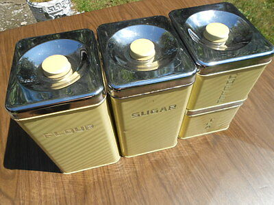 Lincoln Beauty Ware Tin Canister Set, Yellow, (4 pcs.), #116
