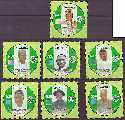 2014 -Nigeria Centenary - Presidents Hologram, circular stamps, set of 7 NHM