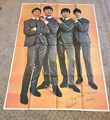 """Original 1964 Beatles Fan Club Poster 54"""" X 39"""" New Old Stock Great Condition"""