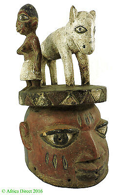 Yoruba Gelede Mask with Animal Headdress Nigeria African Art