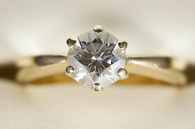 Solid 18K Yellow Gold Solitaire 1.104ct Diamond Engagement Ring