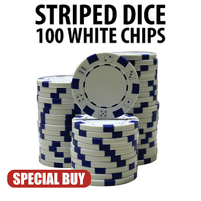 Striped Dice 11.5 Gram Poker Chips 100 White Chips Special Buy