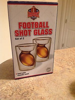 Man Cave Collection Football Shot Glass SET OF 2 Glasses