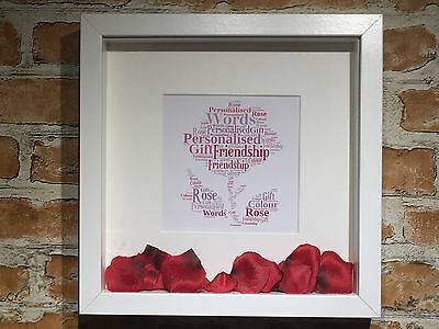 Personalised Word Art Rose and Petals Print Framed Gift Family Friends