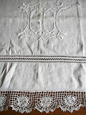 Antique French Sheet Linen Embroidered Lace Edging Monogram B C Cream Bedsheet
