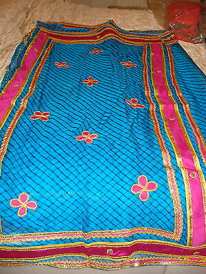 Ladies / Girls Striped Chiffon Saree With Contrasting Border And Blouse