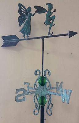 Beautiful antique COPPER PIXIE AND FAIRY weathervane complete SETUP AND MOUNT