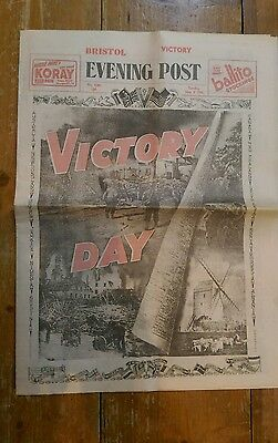 Bristol Evening Post 8th May1945 VE Day Old Newspaper WW2