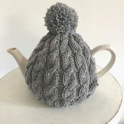 Hand Knitted Aran Style Tea Cosy with Pom Pom in Grey