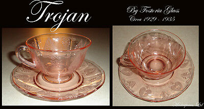 Fostoria Trojan Pink Cup And Saucer Etched Depression Glass