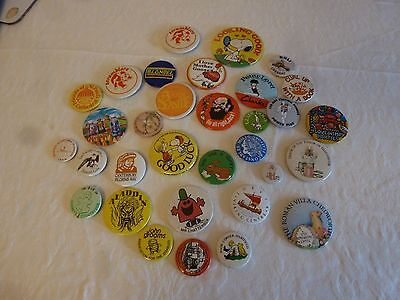 Vintage 20 + Advertising & Collectable Pin Badges From 1970's 80's