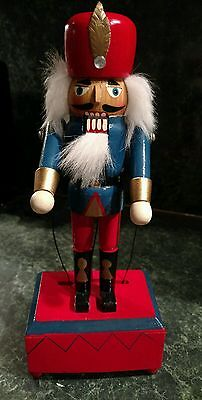 Vintage Nutcracker Hand Painted Moving Music Box Royal Guard Christmas 10.5""