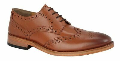 Mens Goodyear Welted Leather Sole Lining Formal Tan Lace Up Brogues Shoes Size