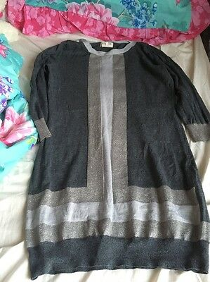 Grey Long Line 3/4 Length Sleeve Jumper Size 12 By Next
