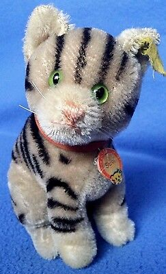 Vintage Steiff Susi Cat Sitting Mohair with silver button 1949-58