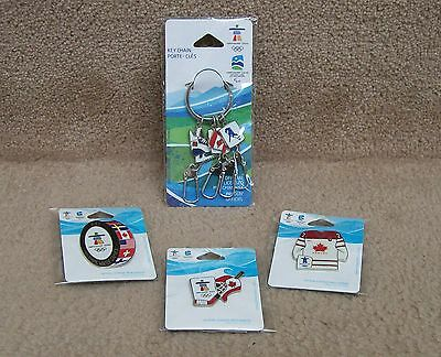 4 OFFICIAL VANCOUVER WINTER OLYMPIC GAME PINS & KEY CHAIN 2010 CANADA Hockey