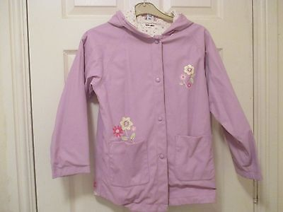 Adams Pale Lilac Girl's Raincoat Age 10 With Floral Lining.soft And Pretty