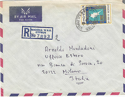 CYPRUS 1973  registered letter st. air mail to ITALY