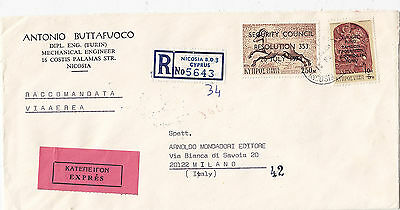 CYPRUS 1975 reg.let. express st. air mail to ITALY