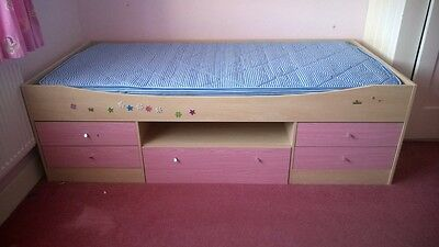Girls 3ft single bed with storage