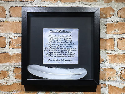 """In Memory """"These Little Feathers"""" Print and Feathers Framed Gift Remembrance"""
