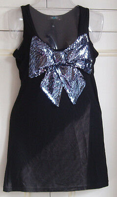Smoove top/tunic- black with glittery bow size s/m