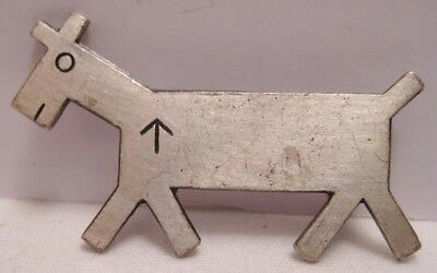 Unusual Old Indian Horse Symbol Pin Eatons Ranch Wolf Wyoming Sterling 1950s