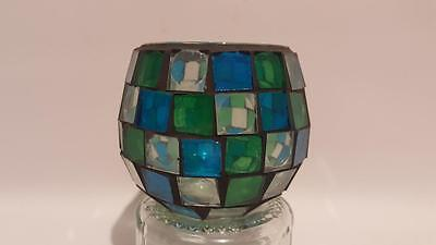 Vintage Gisela Graham Blue & Green Stained Glass Candle Holder VGC with Label