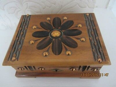 vintage  collectable  wooden box inlaid brass