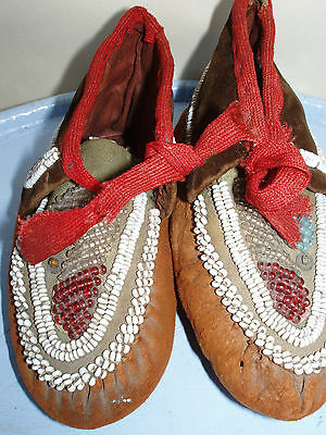 pair of antique childs moccasin shoes