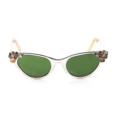 Vintage J Hasday Cats Eye Sunglasses with Leaves & Crystals