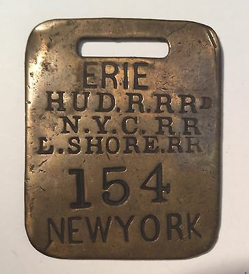 Brass 154 Railroad Baggage Luggage Tag Erie Hudson R. New York City L. Shore RR