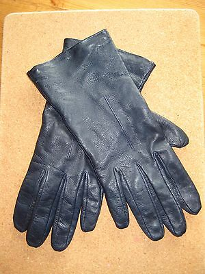 Navy Blue Soft Leather Silk Lined Wrist Gloves Size 7.5 Made In England