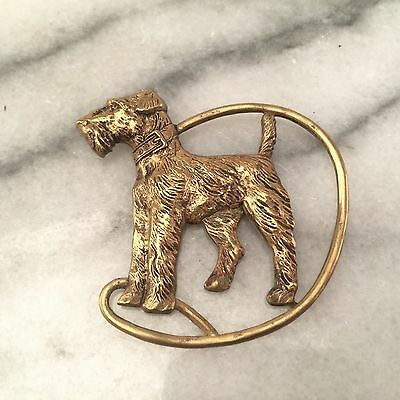 Vintage 1920s-30s Art Deco Terrier Dog Brooch Pin Gold Tone