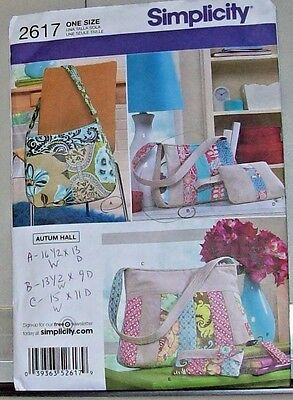 Simplicity Craft Pattern 2617 Autumn Hall 3 Shoulder Fabric Bags & Accessories