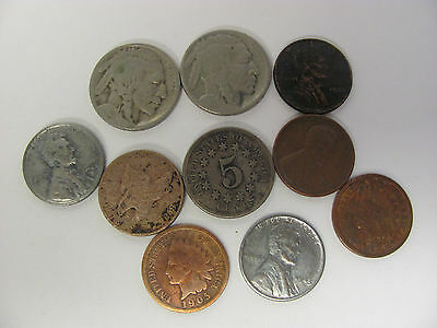 Mixed US Coin Lot Buffalo Shield Nickel Indian Wheat Penny Flying Eagle Cent